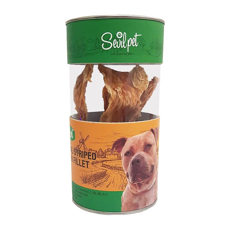 عکس بسته بندی تشویقی سگ سویل پت مدل Striped Chicken Fillet Snack تعداد 10 عددی
