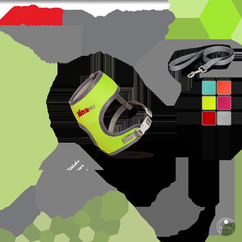 عکس رنگبندی قلاده کتفی سگ و گربه نیناپت مدل پددار همراه با لید سایز صفر