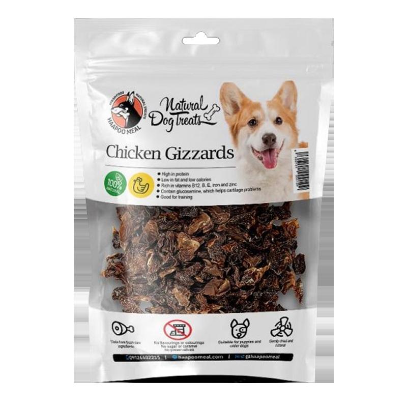 عکس بسته بندی تشویقی سگ هاپومیل مدل Chicken Gizzards وزن 70 گرم