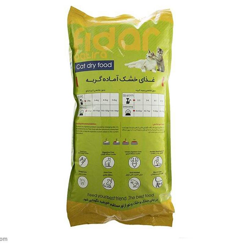 عکس راهنمای پشت بسته بندی غذای خشک بچه گربه فیدار مدل Kitten وزن 8 کیلوگرم