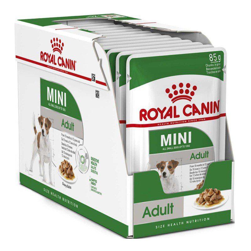 عکس دو بسته بندی پوچ بسته غذای خشک و تر سگ رویال کنین مدل Mini Adult