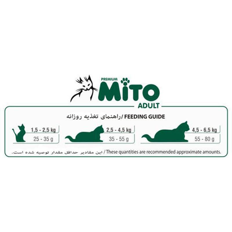 عکس راهنمای تغذیه غذای خشک گربه میتو مدل Adult Chicken وزن 15 کیلوگرم