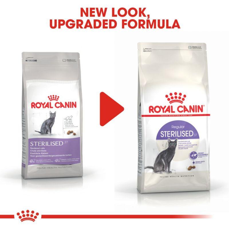 عکس تغییرات بسته بندی غذای خشک گربه رویال کنین مدل Regular Sterilised وزن 2 کیلوگرم