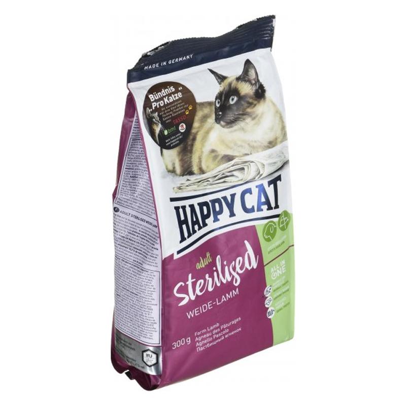 عکس بسته بندی از بغل غذای خشک گربه هپی کت مدل Adult Sterilised Weide-Lamm وزن 10 کیلوگرم