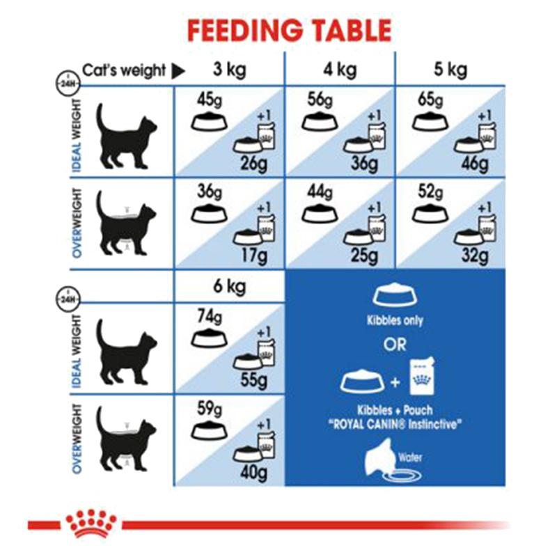 عکس راهنمای تغذیه غذای خشک گربه رویال کنین مدل Indoor Home Life وزن 10 کیلوگرم