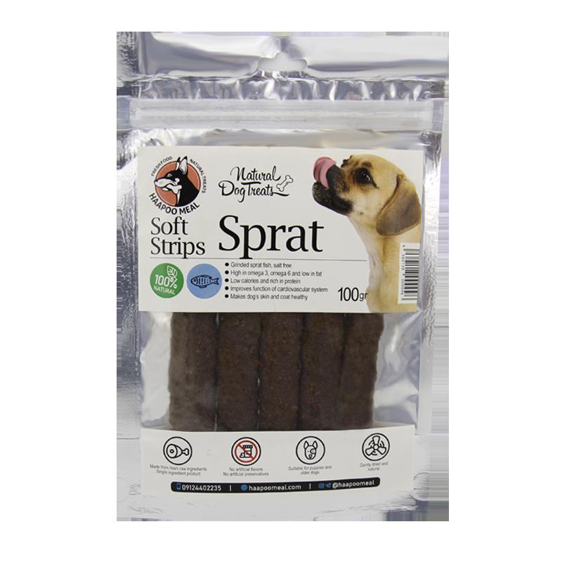 عکس بسته بندی تشویقی سگ هاپومیل مدل Sprat Soft Strips وزن 100 گرم