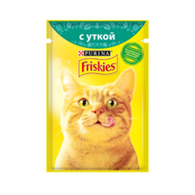 عکس بسته بندی بسته پوچ گربه فریسکیز مدل Duck وزن 85 گرم مجموعه ۳ عددی