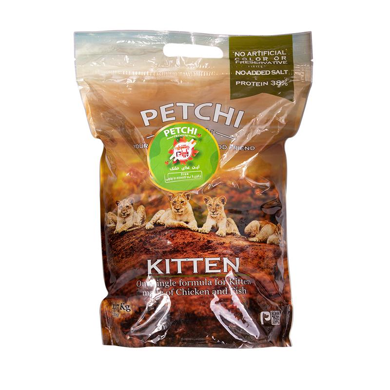 عکس بسته بندی غذای خشک پرمیوم بچه گربه پتچی مدل Kitten Chicken & Fish وزن 1.7 کیلوگرم