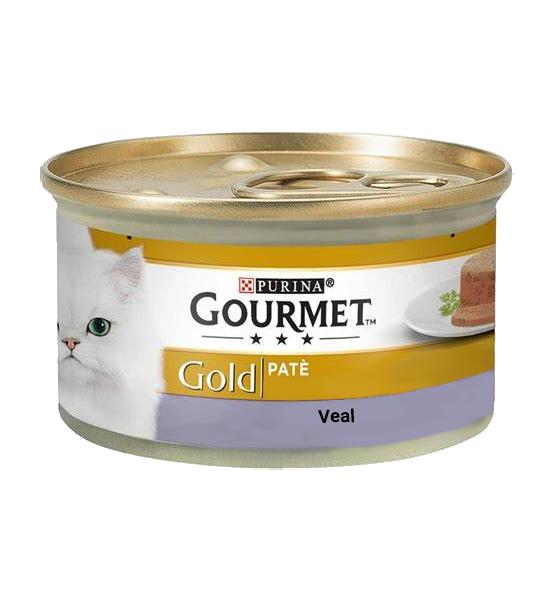 عکس بسته بندی کنسرو غذای گربه گورمت مدل Gold Veal وزن ۸۵ گرم