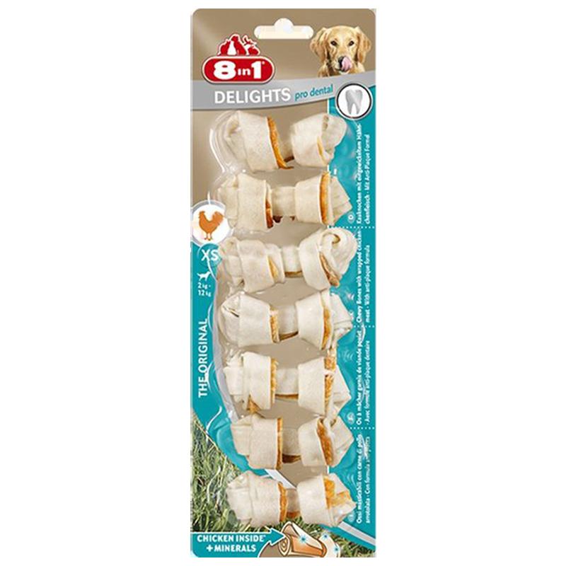 تشویقی سگ استخوانی دنتال دیلایتس با طعم مرغ Delights Treat Bone Dental Chicken وزن 84 گرم
