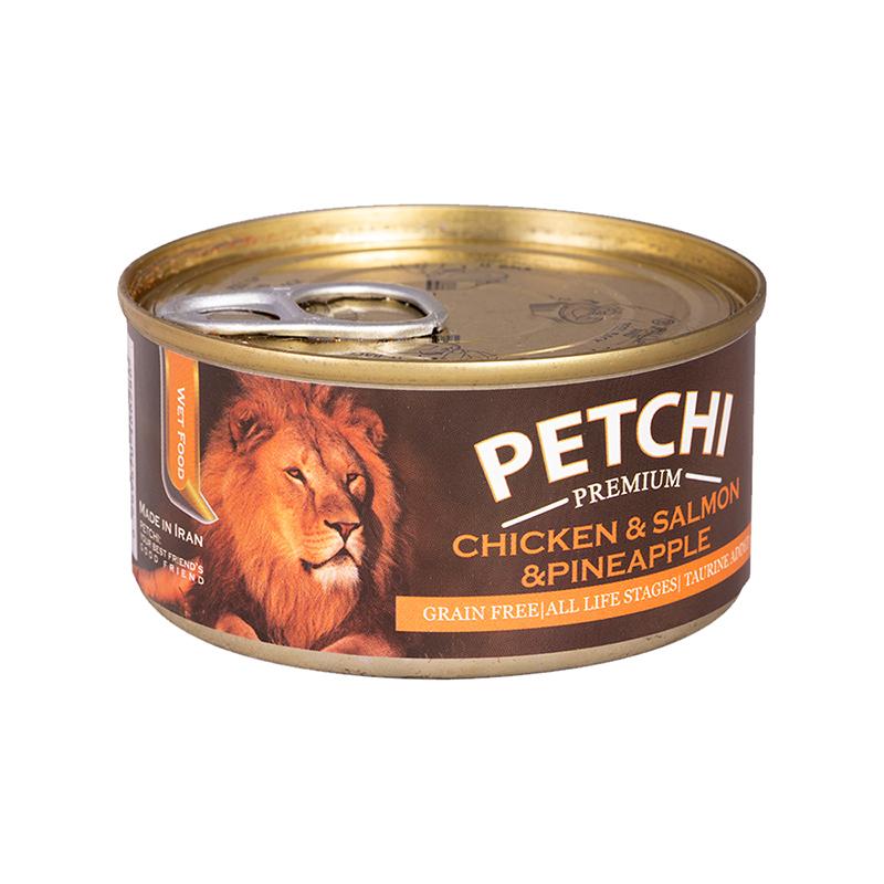 عکس بسته بندی کنسرو غذای گربه پتچی مدل Chicken & Salmon & Pineapple وزن 120 گرم