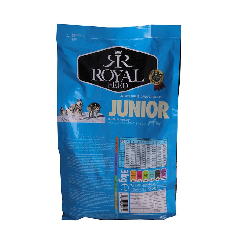 عکس پشت بسته بندی غذای خشک سگ رویال فید مدل Medium & Large Juniors وزن 3 کیلوگرم