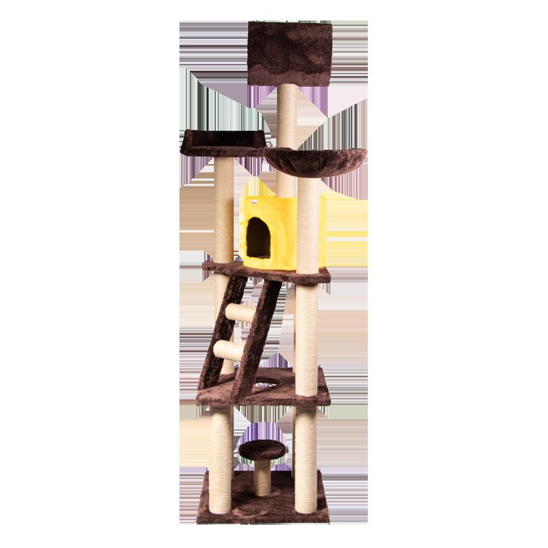 عکس از کنار اسکرچر ، لانه ، جای خواب و تونل گربه کدیپک مدل بلوط رنگ قهوه ای