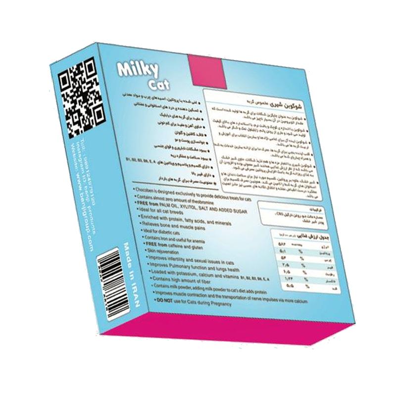عکس پشت بسته بندی تشویقی گربه بنجی مدل ChocoBen Milky بسته 50 عددی