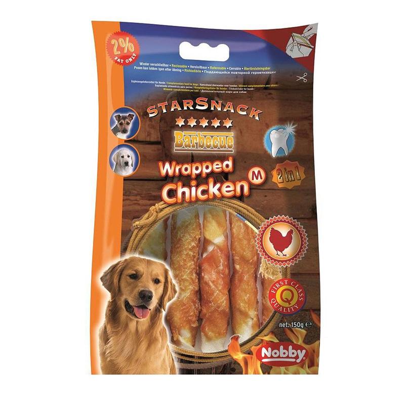 عکس بسته بندی تشویقی سگ نوبی مدل Wrapped Chicken وزن 150 گرم