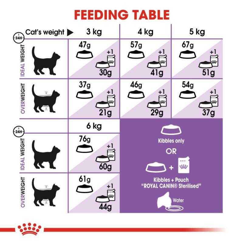 راهنمای تغذیه غذای خشک گربه رویال کنین مدل Regular Sterilised وزن 2 کیلوگرم
