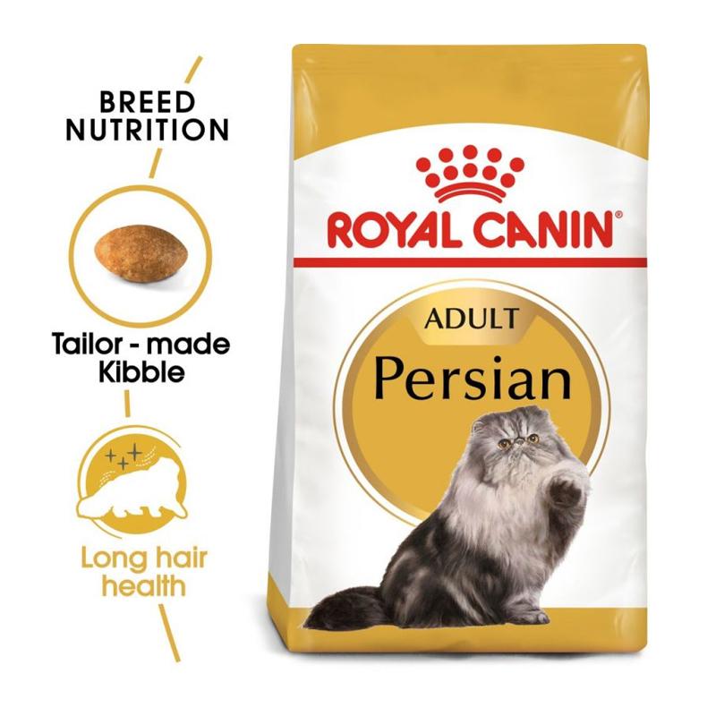 عکس بسته بندی و دانه غذای خشک گربه رویال کنین مدل Persian Adult وزن 4 کیلوگرم