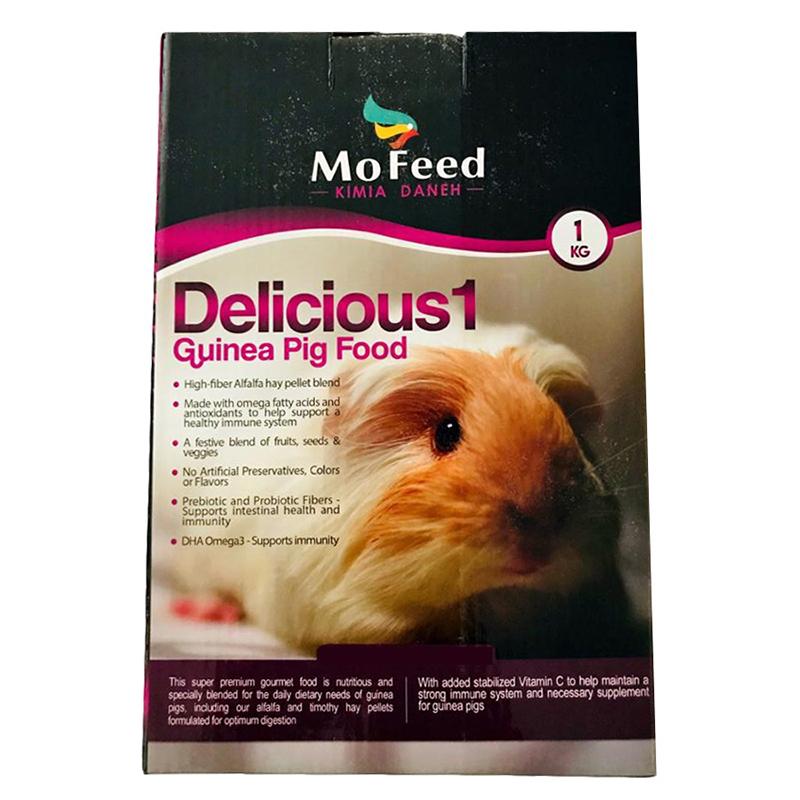 عکس بسته بندی غذای خوکچه هندی مفید مدل Guinea Delicious وزن 1 کیلوگرم