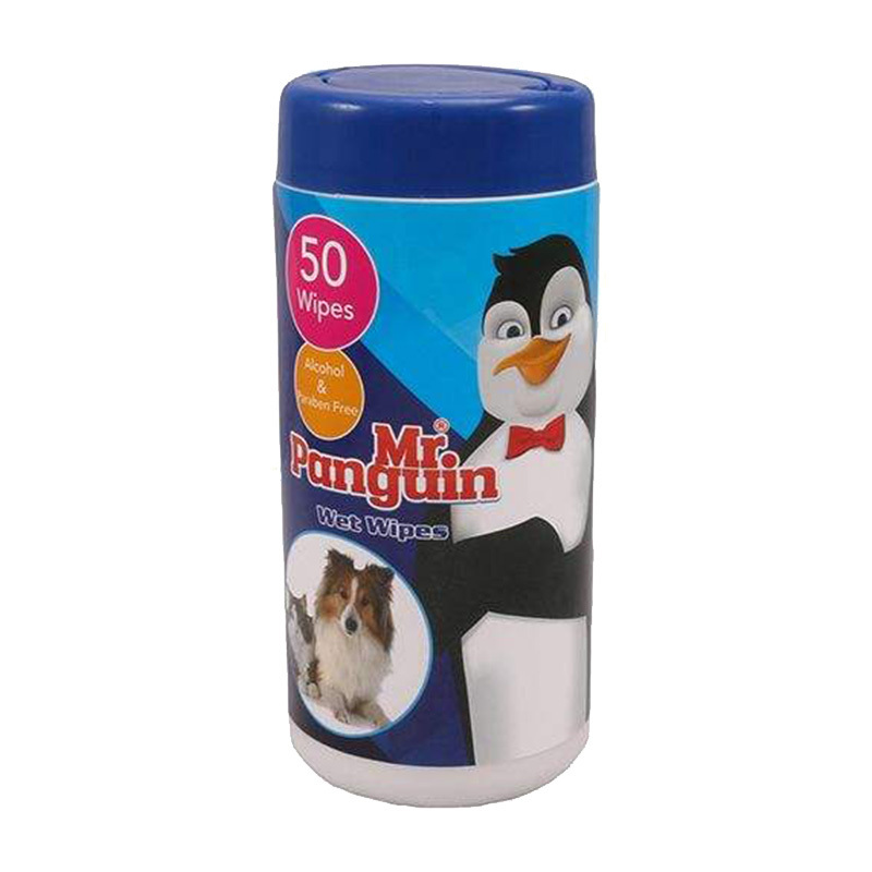 عکس بسته بندی دستمال مرطوب مستر پنگوئین مدل Wet Wipe بسته 50 عددی
