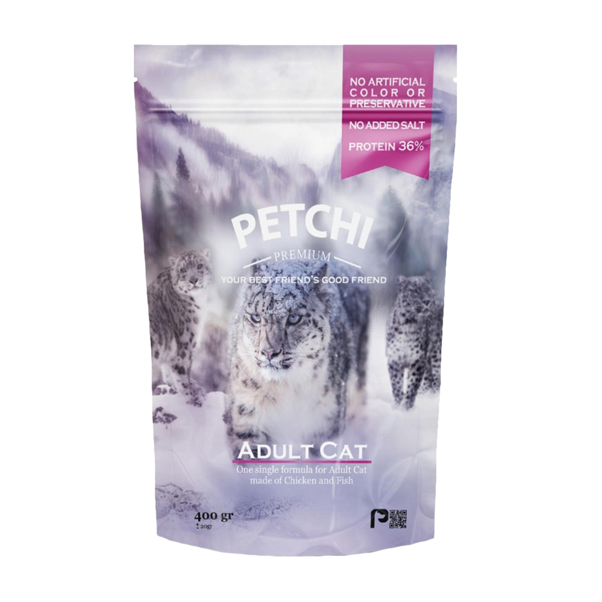 عکس بسته بندی غذای خشک پرمیوم گربه پتچی مدل Adult Chicken & Fish وزن 400 گرم