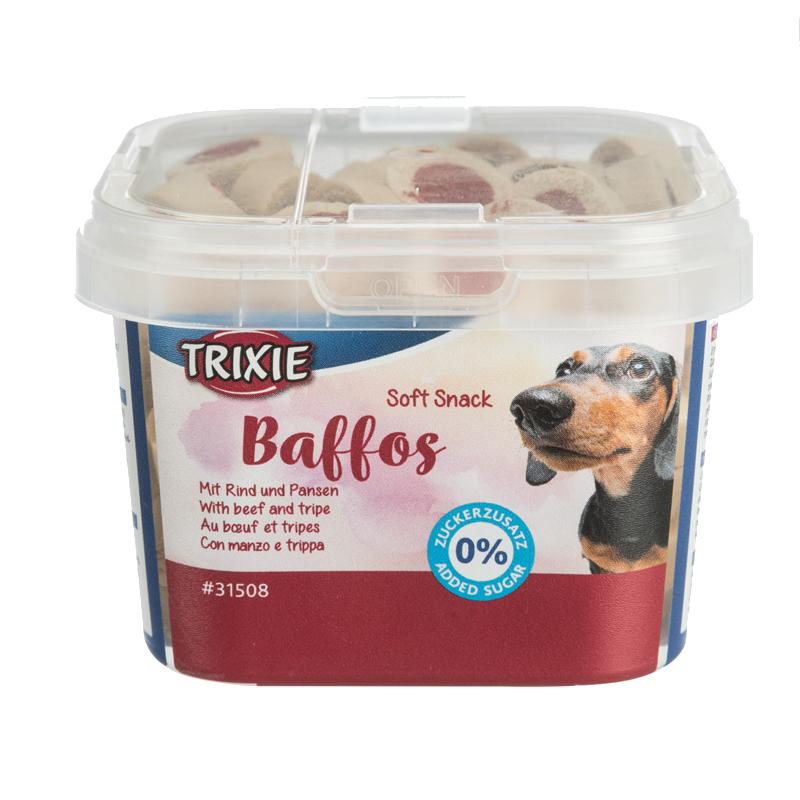 عکس بسته بندی تشویقی سگ تریکسی مدل Baffos با طعم گوشت و سیرابی وزن 140 گرم