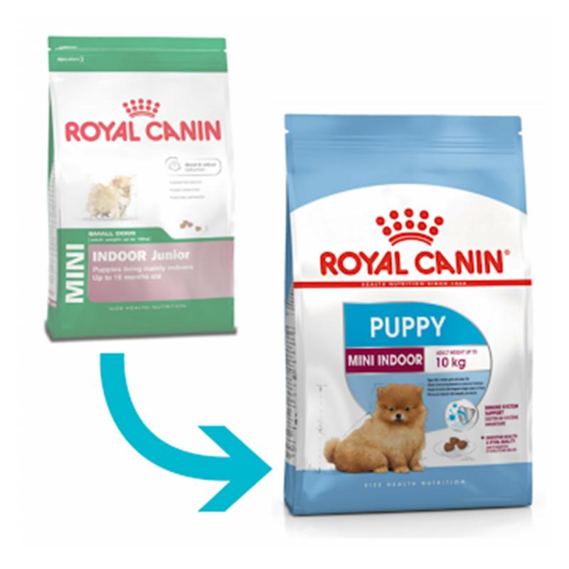 عکس تغییرات بسته بندی غذای خشک توله سگ رویال کنین مدل Mini Indoor Puppy وزن 1.5 کیلوگرم