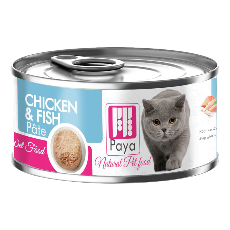 عکس بسته بندی کنسرو غذای گربه پایا مدل Chicken & Fish وزن 120 گرم