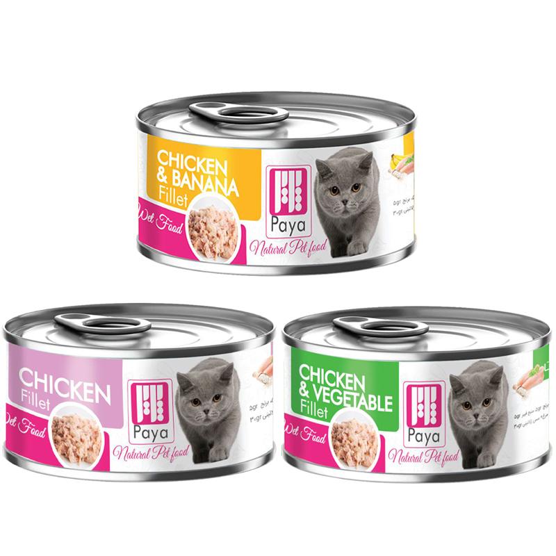 عکس باندل بسته کنسرو غذای گربه پایا مدل Filet Pack وزن 120 گرم مجموعه 3 عددی