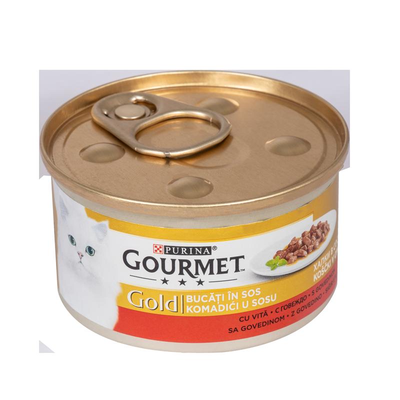 عکس بسته بندی تبلیغاتی کنسرو غذای گربه گورمت مدل Gold Beef وزن ۸۵ گرم