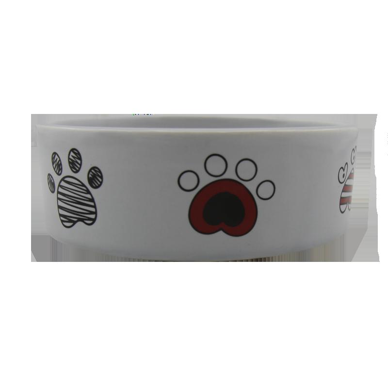 عکس از جلو ظرف آب و غذای حیوانات کوکو پت طرح پنجه سایز کوچک سفید