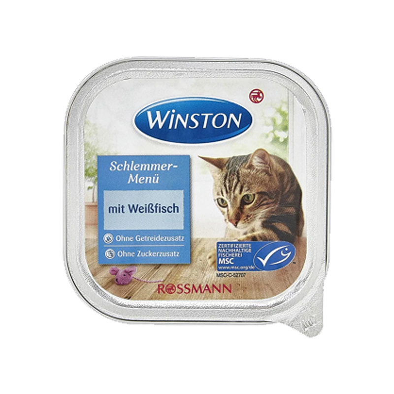 عکس روی بسته بندی غذای کاسهای گربه وینستون مدل White Fish وزن 100 گرم