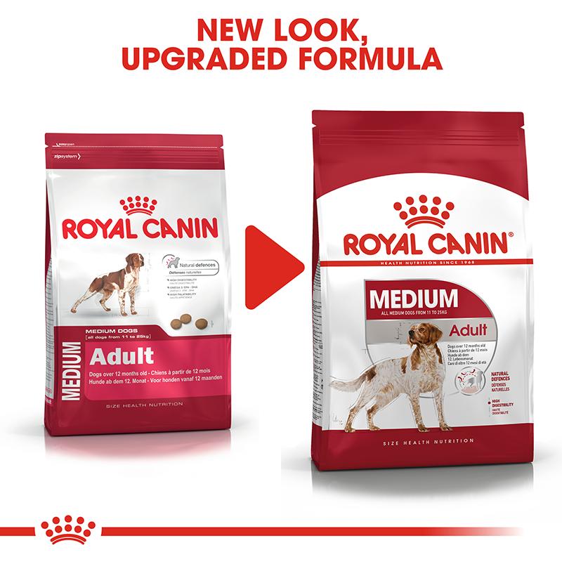 عکس تغییر بسته بندی غذای خشک بسته غذای خشک و تر سگ رویال کنین مدل Medium Adult