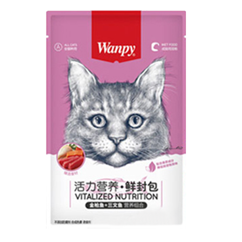 عکس بسته بندی پوچ گربه ونپی مدل Tuna,Salmon and Chicken وزن ۸۰ گرم