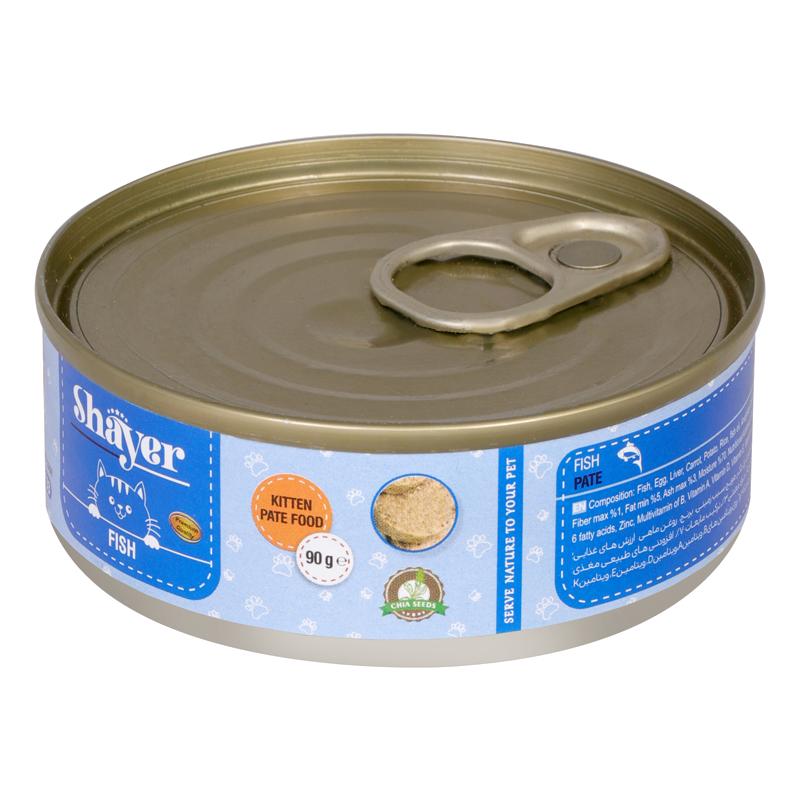 عکس بسته بندی تبلیغاتی کنسرو غذای بچه گربه شایر مدل Fish وزن 90 گرم
