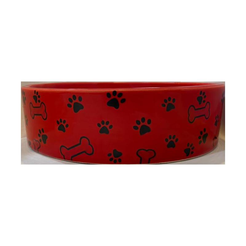عکس از جلو ظرف آب و غذای حیوانات کوکو پت طرح استخوان و پنجه سایز بزرگ قرمز