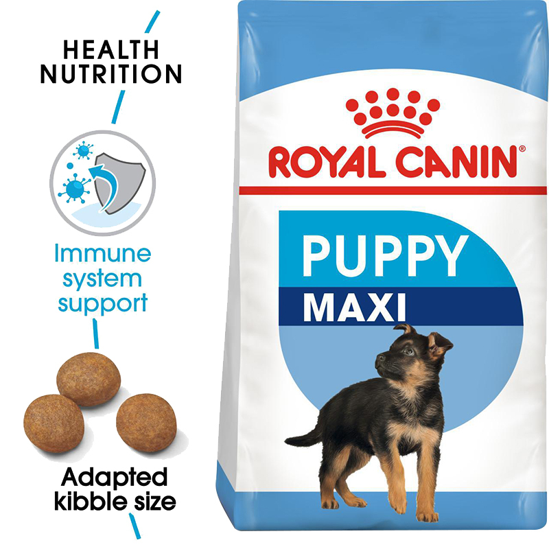 عکس جزییات غذای خشک توله سگ رویال کنین مدل Maxi Puppy وزن 4 کیلوگرم