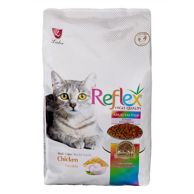 عکس بسته بندی تبلیغاتی غذای خشک گربه رفلکس مدل Multi Color وزن ۱ کیلوگرم