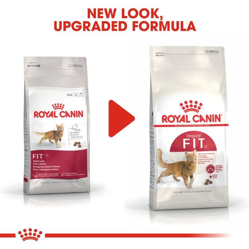 عکس تغییرات بسته بندی غذای خشک گربه رویال کنین مدل Regular Fit 32 وزن 400 گرم