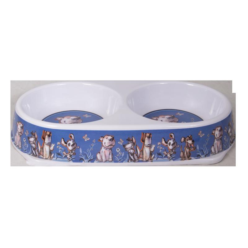 ظرف غذای دوقلو حیوانات مدل ملامین طرح دار رنگ آبی 2