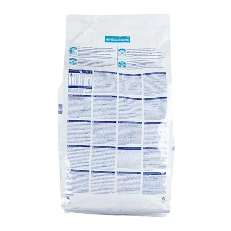 عکس پشت بسته بندی غذای خشک گربه رویال کنین مدل HypoAllergenic وزن 2.5 کیلوگرم