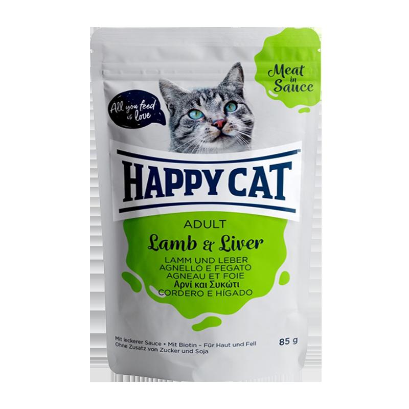 عکس بسته بندی پوچ گربه هپی کت مدل Adult Lamb & Liver وزن ۸۵ گرم