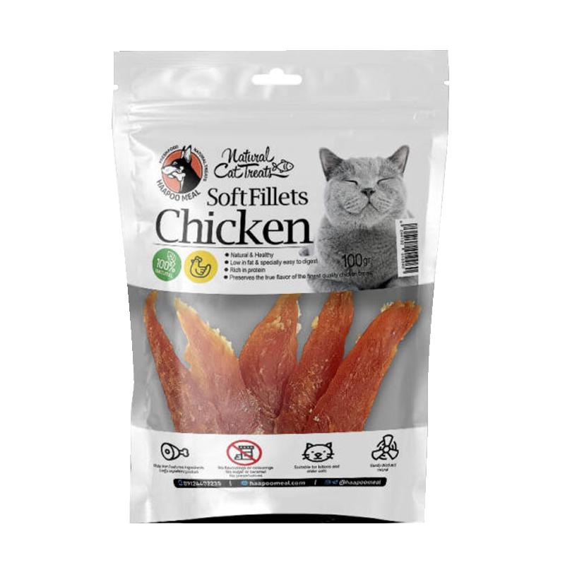 عکس بسته بندی تشویقی گربه هاپومیل مدل Chicken Soft Fillet وزن 100 گرم