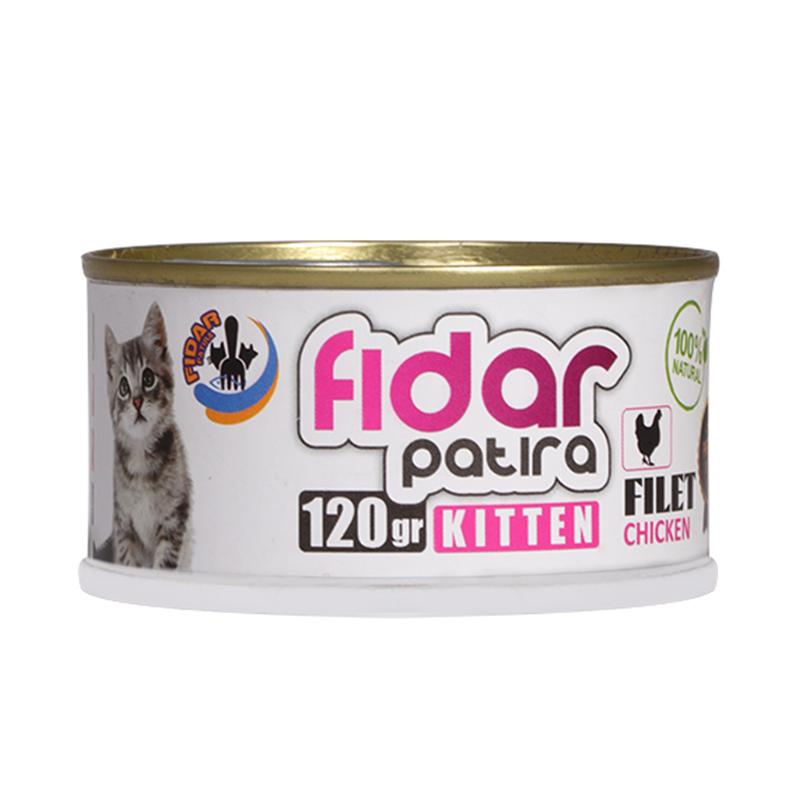 عکس بسته بندی تبلبغاتی کنسرو غذای بچه گربه فیدار مدل Kitten Chicken Filet وزن 120 گرم