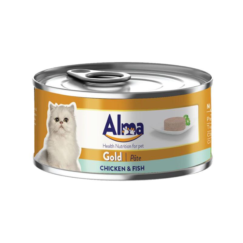 عکس بسته بندی کنسرو غذای گربه آلما مدل Gold Chicken & Fish وزن 120 گرم
