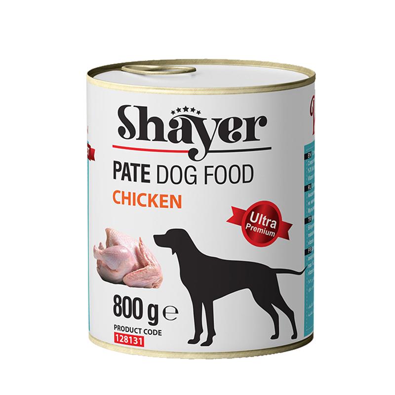 عکس بسته بندی کنسرو غذای سگ شایر مدل Chicken وزن 800 گرم