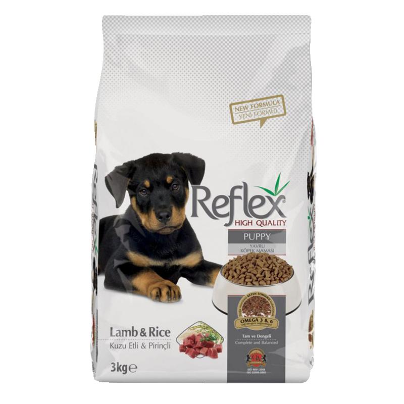 عکس روی بسته بندی غذای خشک سگ رفلکس مدل Puppy Lamb & Rice وزن 3 کیلوگرم