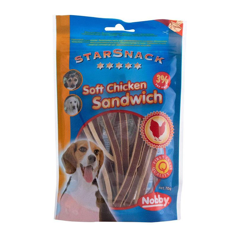 عکس بسته بندی تشویقی سگ نوبی مدل Sandwich وزن 70 گرم