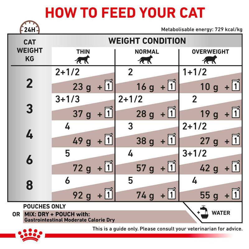 عکس راهنمای تغذیه پوچ گربه رویال کنین مدل Gastrointestinal وزن ۸۵ گرم