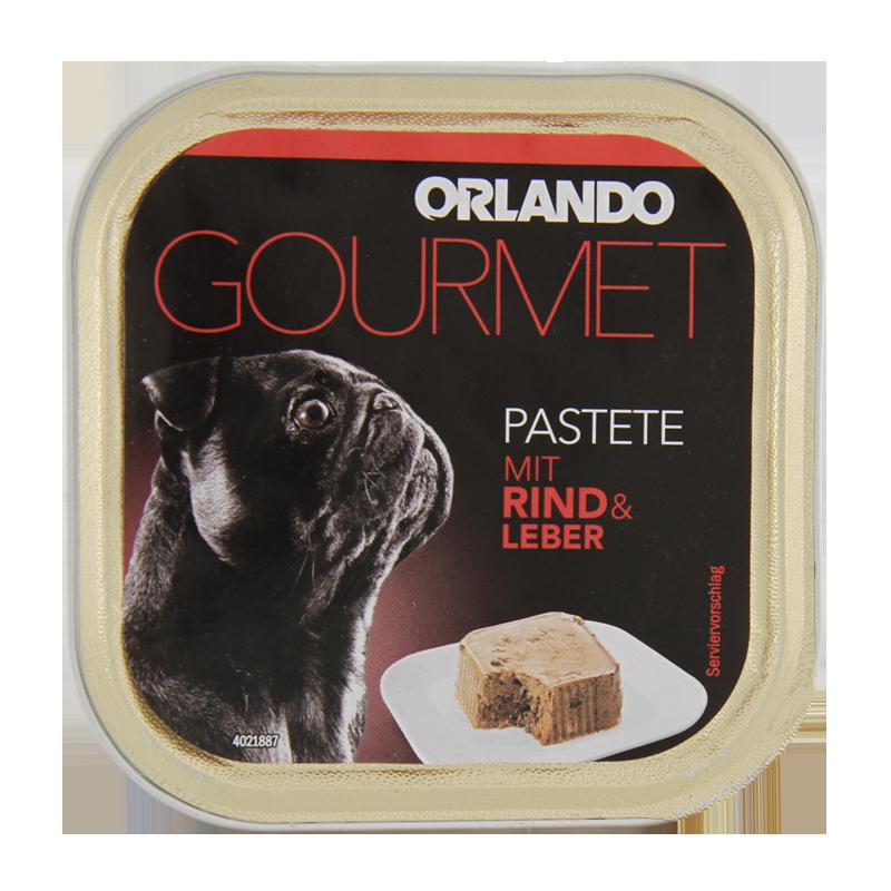 عکس بسته بندی غذای کاسه ای سگ اورلاندو مدل Beef & Liver pate وزن 150 گرم