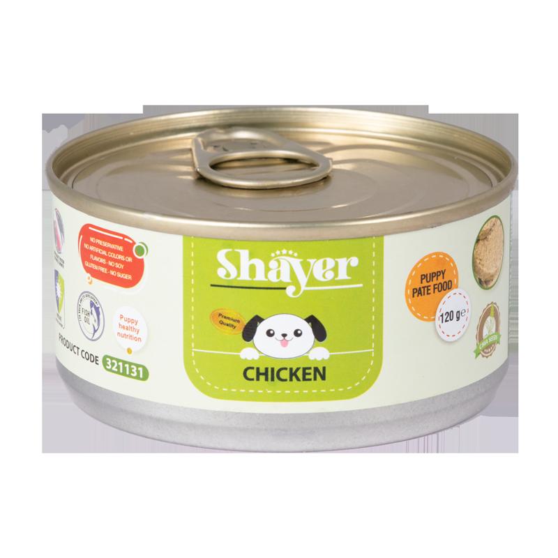 عکس بسته بندی کنسرو غذای توله سگ شایر مدل Chicken وزن 120 گرم